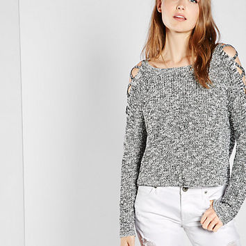 marled lace-up cold shoulder pullover sweater
