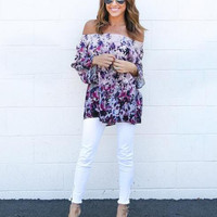 Off Shoulder Floral Print Blouse 13236