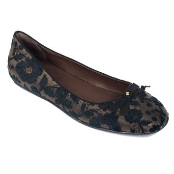 Car Shoe Prada Womens Brown Black Floral Embroidered Flats