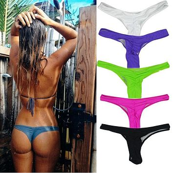 Sexy Mini Women's Bikini Thong Bottom Brazilian V Cheeky Ruched Semi Swimwear Beach G-String Underwear F6128a