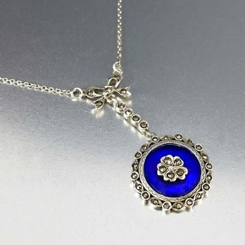 Silver Pansy Marcasite Blue Glass Edwardian Necklace
