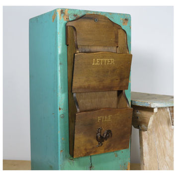 Small Wooden Mail Organizer . Wall Rack . Metal Rooster Emblem . Colony Japan . Vintage Letter Bill Sorter