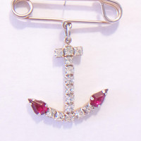 Vintage Rhinestone Anchor Pin Nautical Jewelry Sailor Fashion Accessories For Her