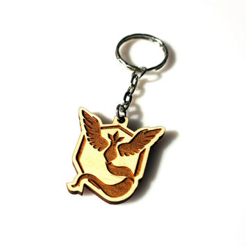Pokemon GO Wooden Keychain Mystic Team Laser Etched and Engraved The Best Gift for Her for Him