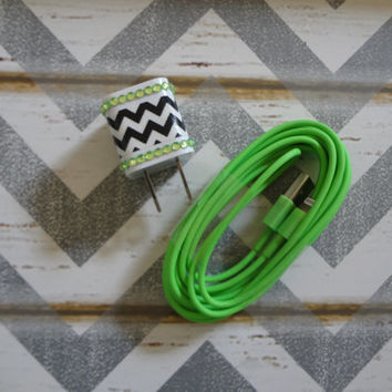 New Super Cute Jeweled Lime Green & White Chevron Designed Wall iphone 5/5s/5c Charger + 10ft Lime Green Cable Cord Super Long