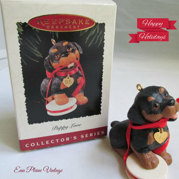 Christmas Ornament 1995 Hallmark Cards Collectible Keepsake Series Five Puppy Love
