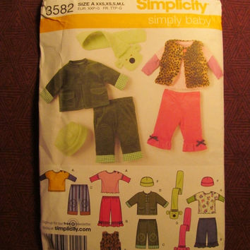 SALE Uncut Simplicity Sewing Pattern, 3582! Infant/Toddlers/Kids/Child/baby/New Born/Knit Tops/Fleece Hats/Scarves/Pants/Jackets/Vests/Winte