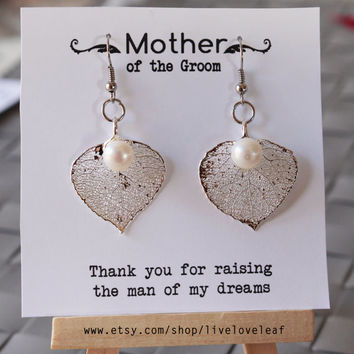 Mother of Bride or Groom Gift ideas - Silver dipped Aspen Leaf earrings, Sterling Silver Aspen leaves Wedding Bridal Jewelry Bridesmaids