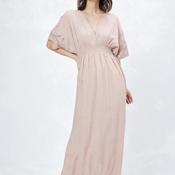 Ella Embroidered Maxi Dress - Blush