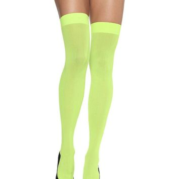 Nylon Over The Knee in NEON GREEN