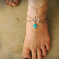 Tribal barefoot sandals,gypsy bracelet,boho ankle bracelet,turquoise ankle,tribal jewelry,howlite bracelet,festival jewelry,mystic bracelet,