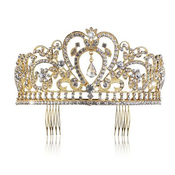 Wedding Tiara with Comb Rhinestones Crystal Bridal Headband Princess Crown