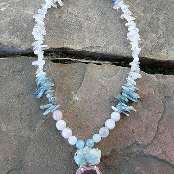 LOVELY Pure Rose Quartz & Blue Kyanite Natural High Vibration Crystal Drusy Necklace druzy gemstone healing jewelry choker hippie festival