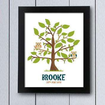 Guest Book Baby Shower birthday guestbook owl tree / printable pdf / signature Babyshower ideas children thumbprint keepsake fingerprint