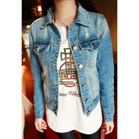 Deep Blue Ripped Turn-Down Collar Long Sleeves Denim Jacket