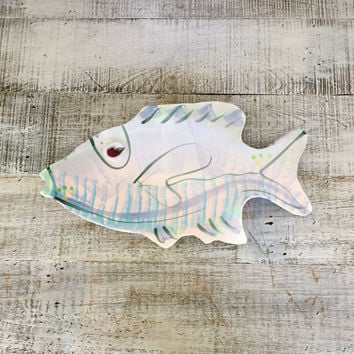 Vintage Ceramic Fish Platter Art Deco Serving Platter Mid Century Ceramic Sculpture  Colorful Mid Century Ceramic Fish Handmade Pottery Dish