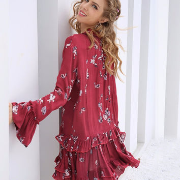 Red Vintage Boho Print Long Sleeve Ruffle Dress