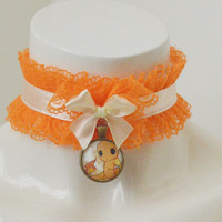 Kitten play day collar - Charmander - little ddlg princess pokemon geek kawaii choker - orange and yellow frilled lace necklace