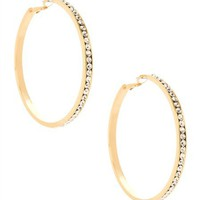 G by GUESS Large Gold Rhinestone Hoop Earrings, GOLD
