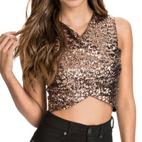 Gold Sequined V-Neckline Crisscross Wrap Crop Top