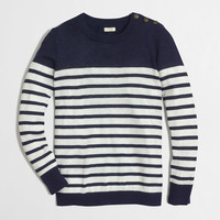 Factory shoulder-button Charley sweater in stripe : Nautical Styles | J.Crew Factory