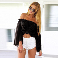 Fashion Summer Women Blouse Sexy Womens Off Shoulder Chiffon Boho Shirts Girls Ladies Long Sleeve Casual Tops Vest Blouses #JO