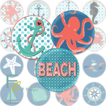 "Sea Theme 1.5"" Circles, Printable Digital Collage Sheet, Ocean, Fish, Beach, Craft Supplies, Jewelry Making, Decoupage, Wood Knobs, Pendants"