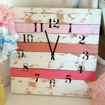Shabby chic pink clock 16x16 girls room cottage style home decor aged rustic bedroom wall hanging shower  birthday christmas gift