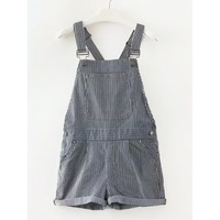 Striped Cuffed Short Overalls
