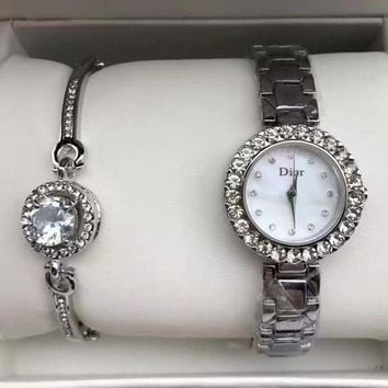 Perfect Dior Women Fashion Trend Quartz Movement Diamonds Wristwatch Watch Set Two-Piece