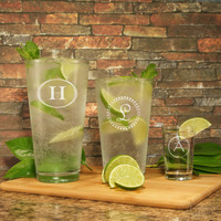 Gentlemen's Gin Highball Personalized Cocktail Glass with Monogram Design Options and Font Selection OPTIONAL Monogrammed Shot Glass