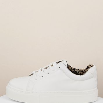 Lace Front Leopard Interior Platform Sneakers