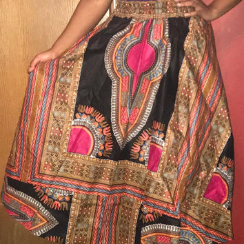 """NWOT African Long Dashiki Maxi /Pockets Ankara Elastic Waist One size fit MOST (Sz M-1X) with pockets/  African material""""/Black Red Skirt"""