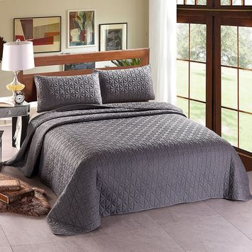 Luxury 3 Piece Reversible Quilt Set Bedspread Coverlet Bed Grey Hypoallergenic