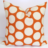 ORANGE Polka Dot Pillow.18x18 inch..Decorative Pillow Cover.Printed Fabric Front and Back.Dots.Home Decor