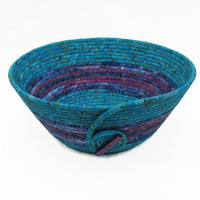 Coiled Fabric Bowl, Basket,Turquoise and Purple