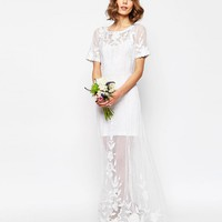 ASOS BRIDAL Delicate Lace And Pearl Maxi Dress
