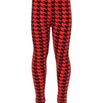 Girls Checker Leggings, Red-Black