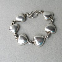 Vintage High-Quality Sterling Silver Puffy Heart Link Toggle Bracelet, Size Large
