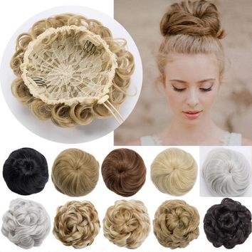 US SALE 100% Real Natural Clip on/in Messy Hair Bun Extension Chignon Hair Piece