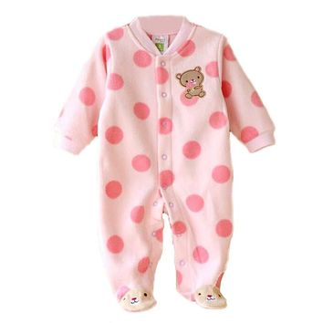 0-12M Autumn Fleece Baby Rompers Cute Pink Baby Girl Boy Clothing Infant Baby Girl Clothes Jumpsuits Footed Coverall V49