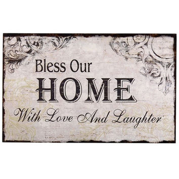 """Decorative Wood Wall Hanging Sign Plaque """"Bless Our Home with Love and Laughter"""" Off White Black Home Decor"""