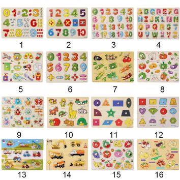 Baby Kids Wooden Puzzles Toys Children's Educational Jigsaw Board Puzzle Toys Cognitive Plate Clutch