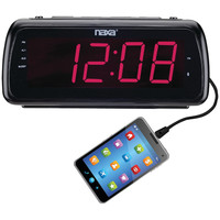 "NAXA NRC-180 Large 1.8"""" LED Alarm Clock with USB Charge Port"