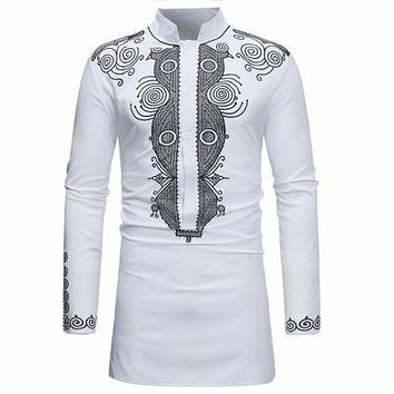 Silver and White Mens Hipster African Dashiki Longline Shirt