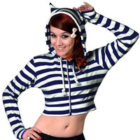 Banned UK Striped Crop Hoodie - white/dark blue :: VampireFreaks Store :: Gothic Clothing, Cyber-goth, punk, metal, alternative, rave, freak fashions