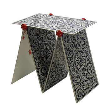 House of cards decorative table. Poker card man cave table