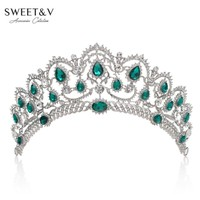 SWEETV Luxury Crystal Crown Wedding Tiara Princess Party Hats Bridal Head Jewelry - Pageant Prom Women Hair Accessories w/ Gems