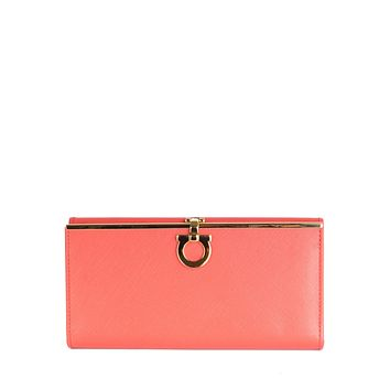 Salvatore Ferragamo Womens Gancini Morning Rose Coral Continental Wallet