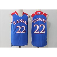 Online NCAA University Basketball Jersey Kansas State Wildcats # 22 Andrew Wiggins Blue